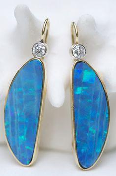 Susan Lister Locke Australian Boulder Opal, Diamond Earrings, 18kt gold