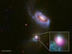 """Researchers observed the supermassive black hole at the center of the galaxy SDSS J1354+1327 with the Chandra X-ray Telescope (pink) and Hubble Space Telescope, noticing evidence of two """"burps"""" of high-energy particles emanating from the black hole. One (below the black hole) has spread further, suggesting it burst out 100,000 years before the other (above the black hole)."""