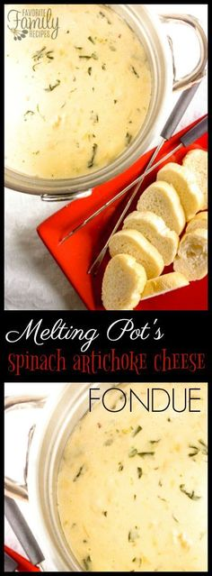 Melting Pots Spinach Artichoke Cheese Fondue is one of my favorite things to order It is so much easier and cheaper to make and tastes amazing via favfamilyrecipz Dips Für Fondue, Cheese Fondue Dippers, Best Cheese Fondue, Fondue Party, Fondue Ideas, Cheese Fondue Recipes, Fondue Recipe Melting Pot, Melting Pot Recipes, The Melting Pot