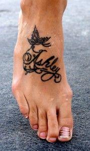 """Nice little """"Ashley"""" foot tattoo, I love it! Cute Foot Tattoos, Foot Tattoos For Women, Large Tattoos, Trendy Tattoos, Cool Tattoos, Name Tattoo Designs, Butterfly Tattoo Designs, Tattoo Designs For Girls, Tattoo Girls"""
