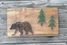 Rustic Black Bear String Art Wooden Sign Cabin by CarolinaStrings