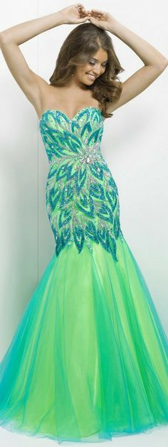 Blue and Green Prom Dresses