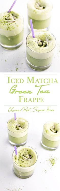 Iced Matcha Green Tea Frappe with Coconut Whip Juice Smoothie, Smoothie Drinks, Healthy Smoothies, Healthy Drinks, Healthy Food, Yummy Drinks, Yummy Food, Green Tea Recipes, Coconut Whipped Cream
