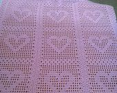 "Handmade Crocheted Blanket - Measures 34"" x 37"""