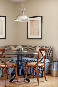 Been wanting a banquette (Ballard Designs) like this for a while, but don't have the space in the kitchen. Would it be so bad to ditch the rectangular table in the dining room and go with something like this?