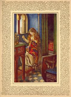 Elaine Sewing a Cover for Lancelot's Shield by Eleanor Fortescue Brickdale