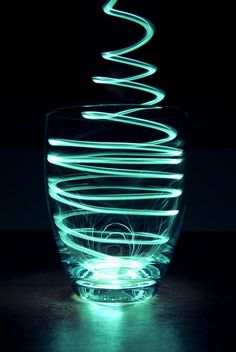 This is a very great example of light painting photography. It is a good lighting inspiration and it uses a light source to create the affect of painting. The main subject which is the glass, it mainly focused around the light source. Light Painting Photography, Glass Photography, Exposure Photography, Photography Projects, Abstract Photography, Night Photography, Creative Photography, Photography Lighting, Cocktail Photography