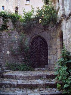 Saint-Cirq-Lapopie: Escalier, rosier grimpant et maisons du village