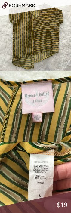 Romeo & Juliet Couture Asymmetrical Hem Top This would be perfect to throw over a swimsuit on a hot day. It measures 23.5 inches armpit to armpit and 24 inches in the front, and 31 inches long shoulder to hem in the back. Please ask questions before purchasing. Romeo & Juliet Couture Tops Tunics