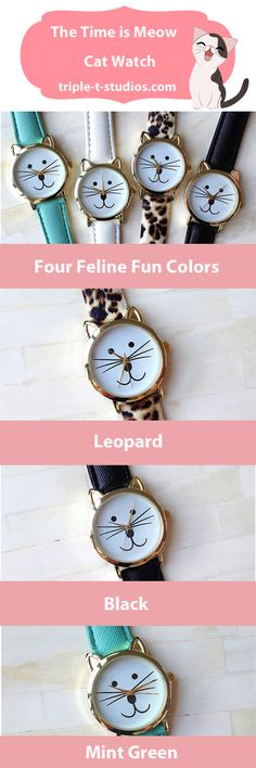 The Time is Meow for you to add this cute cat watch to your accessories.