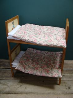 Vintage Wooden Handmade Toy Child's Cot Crib Double Bunk Bed Twin Decals Bedding