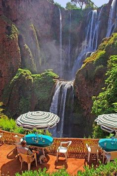 """Cafe at Cascades d' Ouzoud in Tanaghmeilt, Morocco. Ouzoud Waterfalls are located near the Grand Atlas village of Tanaghmeilt, in the province of Azilal, 150 km northeast of Marrakech, in Morocco. Ouzoud means """"the act of grinding grain"""" in Berber. Casablanca, Dream Vacations, Vacation Spots, Vacation Destinations, Vacation Rentals, Places To Travel, Places To See, Places Around The World, Around The Worlds"""