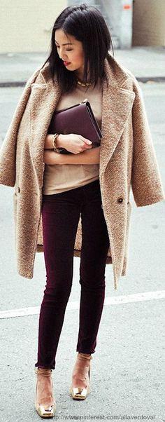 Women's Camel Coat, Tan Crew-neck T-shirt, Burgundy Skinny Jeans, Tan Leather…