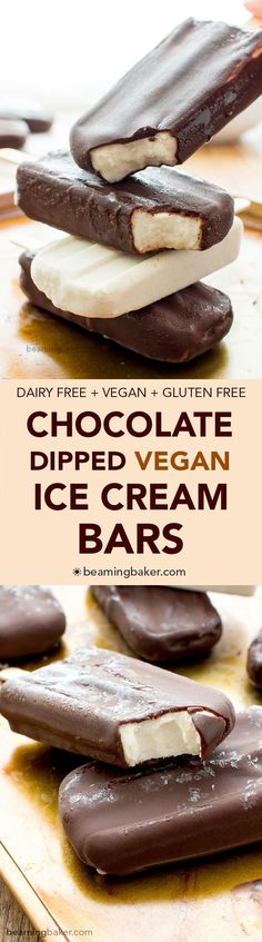 Vegan Ice Cream Bars (V+GF): an 8 ingredient recipe for the BEST decadent chocolate-dipped vegan ice cream bars made with whole ingredients.
