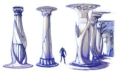 View an image titled 'Atlantis Column Designs Art' in our God of War II art gallery featuring official character designs, concept art, and promo pictures. Fantasy City, Fantasy Castle, Fantasy Concept Art, Game Concept Art, Fantasy Art Landscapes, Fantasy Landscape, Character Art, Character Design, Column Design