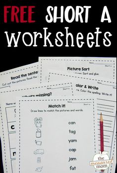 Download this free bundle of nine short a worksheets! Great for review and reinforcement of short a word family words!