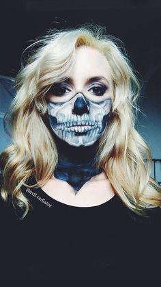 Skull Bandana by evil-radiator. on Skull Bandana by evil-radiator. Skull Makeup, Body Makeup, Makeup Art, Classy Halloween, Halloween Ideas, Happy Halloween, Halloween Filters, Half Skull Face, Music Festival Outfits