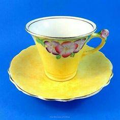 Art Deco Flowers on Yellow with Flower Handle James Kent Fenton Cup Saucer Art Deco Flowers, Yellow Tea Cups, Cuppa Tea, Japanese Porcelain, China Tea Cups, Vintage Pottery, Vintage Glassware, Tea Cup Saucer, High Tea