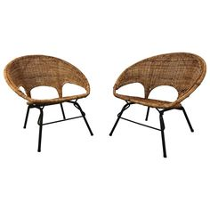 Modernist Wicker and Iron Hoop Chairs by Franco Albini | From a unique collection of antique and modern lounge chairs at https://www.1stdibs.com/furniture/seating/lounge-chairs/