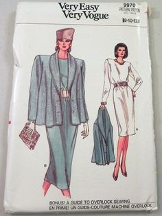 """1980s Dress and Oversized Swing Jacket sewing pattern Very Easy Very Vogue 9970 Size 8-10-12 UNCUT bust 31.5 32.5 34"""" FF"""