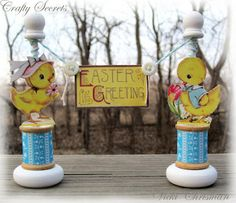 """Ducky Easter Greeting ~ The wood dowels, discs, and other wood pieces are all found in the """"woods"""" isle at Hob Lob."""