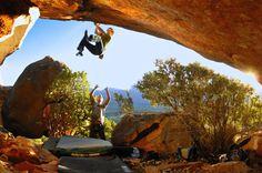 Chuck cutting feet wildly and gripping down on this harsh V11 at the Alpha Farms area in South Africa.