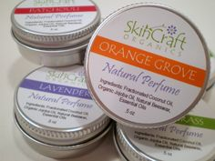 Natural Perfume Fragrance - Orange & Vanilla Solid Scent in Tin w/ Screw On Lid