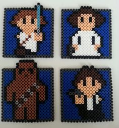 Star Wars perler beads coaster by NrrrdGrrrlConcepts Perler Beads, Perler Bead Art, Fuse Beads, Perler Bead Designs, Hama Beads Design, Star Wars Crafts, Geek Crafts, Pearler Bead Patterns, Perler Patterns