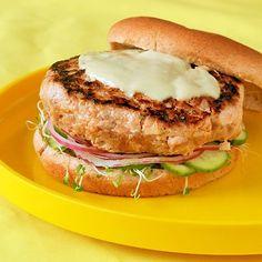 Yellowfin Tuna Burger with Japanese Cucumber Relish & Wasabi Aioli