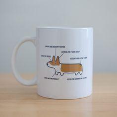 Anatomy of a corgi ceramic mug. $13.99, via Etsy.