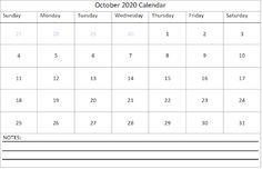 Editable October 2020 Calendar Excel