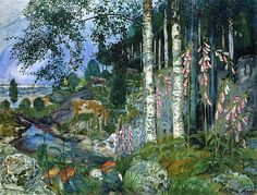 Nicolai Astrup (Norway, 1880-1928) Foxgloves oil on canvas
