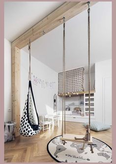 Modern children's room where the design of the bed makes the difference: 18 ideas - :Wohnen mit Kindern - Kids Playroom İdeas Swing Indoor, Indoor Jungle Gym, Hammock Swing, Room Ideias, Kids Room Design, Playroom Design, Baby Design, Kids Bedroom Designs, Playroom Decor
