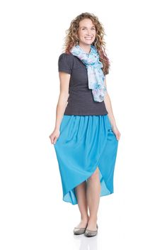 . DYT type 2 outfit . charcoal lace top . coastal blue skirt . blue & white scarf .