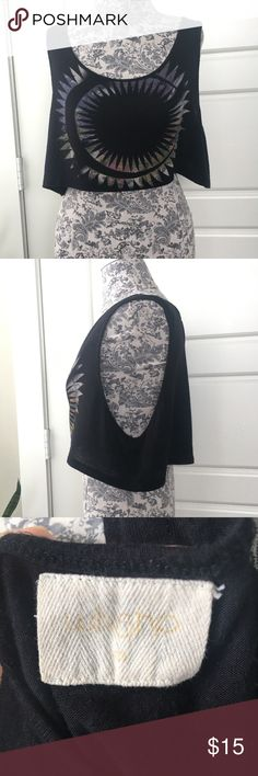 """Cropped Solstice Tank Top Unique Celestial graphic cropped tank. Dropped arm holes. 16"""" length. Preloved in excellent condition. Worn thrice. Probably purchased from Revolve or Urban Outfitters.   # boho, bohemian, festival, spring, summer, punk, rock, band, rocker, trendy Tops Crop Tops"""