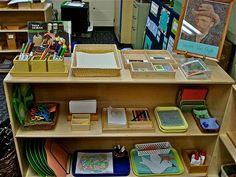 Art shelves in a Montessori classroom Montessori Classroom Layout, Montessori Jobs, Montessori Toddler, Montessori Materials, Classroom Crafts, Head Start Preschool, Preschool Art, Montessori Practical Life, Classroom Setting
