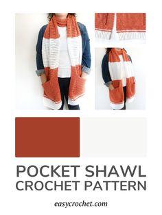 Crochet Shawl with Pockets Pattern via @easycrochetcom