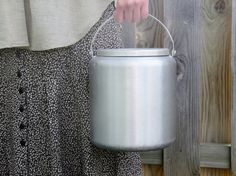 Vintage Rustic Small Silver Milk Pail by Modred12 on Etsy, $28.00