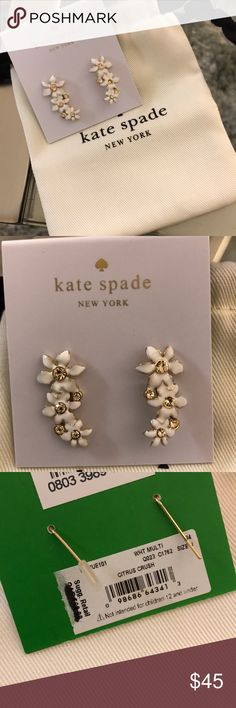 Kate Spade Flower Earrings Dangle style. Brand new with dust bag. kate spade Jewelry Earrings