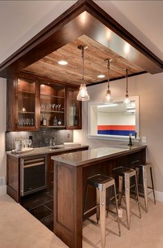 Stunning Basement Ceiling Ideas Are Completely Overrated Would love to add bar side to our existing basement kitchen. Nice clean home bar design.Would love to add bar side to our existing basement kitchen. Nice clean home bar design. Basement Bar Designs, Home Bar Designs, Small Basement Design, Finished Basement Designs, Mini Bars, Basement Renovations, Home Remodeling, Cheap Remodeling Ideas, Kitchen Remodeling