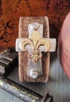 Sideways Cross Leather cuff bracelet 'Fleur de by slashKnots, $62.00