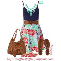Cute Casual Summer Outfits Combinations. Navy Blue Tank-Top, Floral Mint & Pink Skirt, Camel Tote & Sandals.
