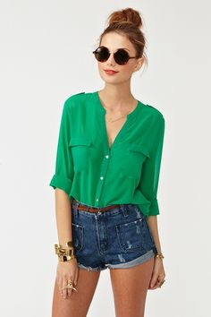 Blouse and high waisted shorts