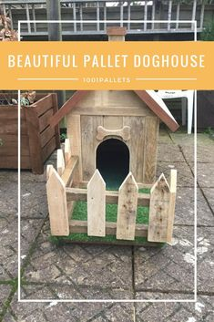 You could buy a plastic, ugly pet hut or you can build a Barkin' Beautiful Pallet Doghouse with an adorable picket fence! It even has a front porch!