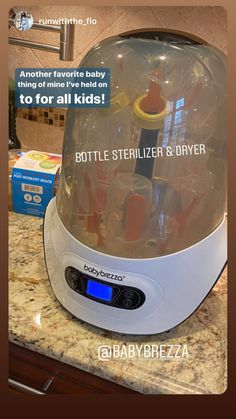 Have you tried the Baby Brezza One Step Sterilizer Dryer? Parents are loving this item and recommending it to their friends! This product sterilizes and dries in one easy step! No more boiling HUGE pots of water to clean your baby bottles and pacifiers! Baby Bottle Sterilizer, Baby Life Hacks, Baby Must Haves, Baby Necessities, Everything Baby, Cool Baby Stuff, Baby Stuff Must Have, Baby Needs, Baby Time