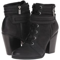 Kenneth Cole Reaction Might Rocket (Black 1) Women's Lace-up Boots ($51) ❤ liked on Polyvore featuring shoes, boots, ankle boots, black, high heel ankle boots, black boots, short high heel boots and lace up boots