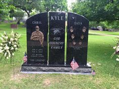 He is best remembered for his autobiographical book American Sniper, a New York Times bestseller that described his military career as a US Navy SEAL sniper. Chris Kyle, Military Love, Army Love, Unusual Headstones, Famous Tombstones, Famous Graves, Military Figures, Band Of Brothers, Grave Memorials