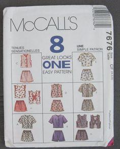 McCalls 7676 Top Shorts 8 Great Looks Criss-Cross Back Children Size 4 5 6 Uncut #McCalls