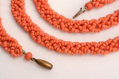 Victorian Coral Bead Crochet Necklace