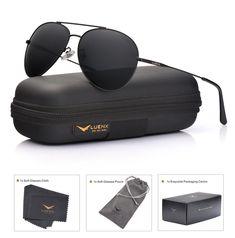 4fe8b2069e00 LUENX Men Women Aviator Sunglasses Polarized Non-Mirrored All Black Lens  Metal F  fashion